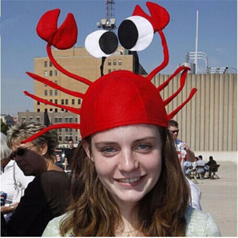 Halloween funny hats for party Unique Cute Crab Hat Cap for Easter Halloween Christmas Party Decoration Red plastic standing human skeleton life size for horror hunted house halloween decoration
