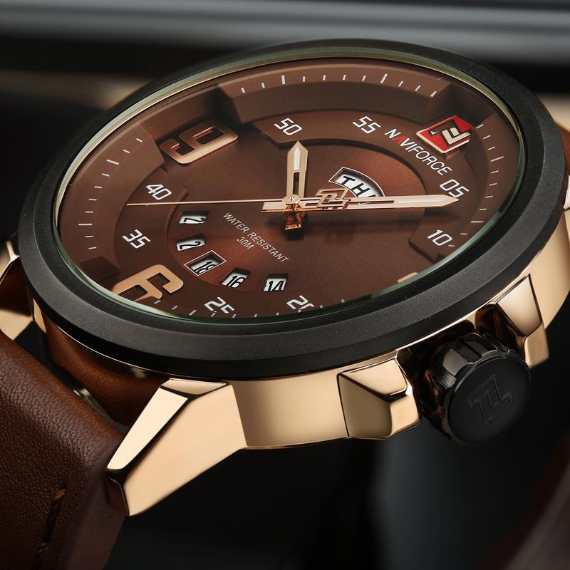 Prix pour Mens Montres Haut Marque De Luxe NAVIFORCE Sport Montre Hommes Militaire En Cuir Quartz-montre Étanche Homme Horloge Relogio Masculino