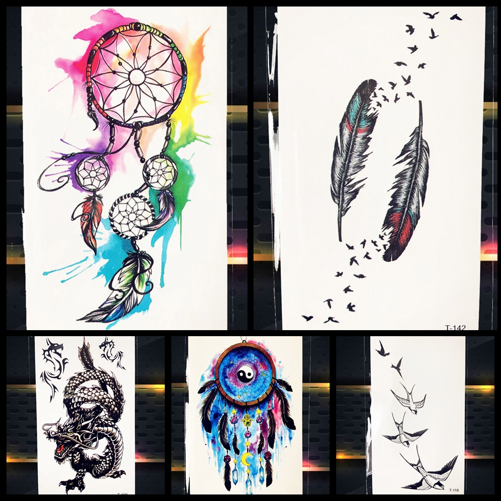 Watercolor Dreamcatcher Feather Wind Temporary Tattoo Stickers Women Girl Neck Body Waterproof Tattoos Self Adhesive Tatto Birds