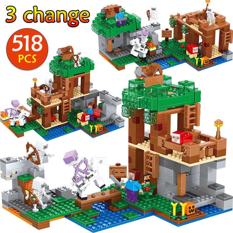 My World Skeleton Attacks Building Blocks Compatible Legoingly Minecrafted 21146 Steve Figures Bricks Toys for children my world tree house brick scene series steve mini blocks model building blocks kit toys for children compatible 21125