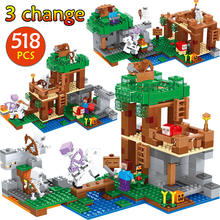 My World Skeleton Attacks Building Blocks Compatible Legoingly Minecrafted 21146 Steve Figures Bricks Toys for children(China)