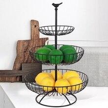 Cesta de Metal para fruta de 3 niveles, soporte para encimera, bandeja de Metal, color negro, Estilo Vintage, cesta de almacenamiento