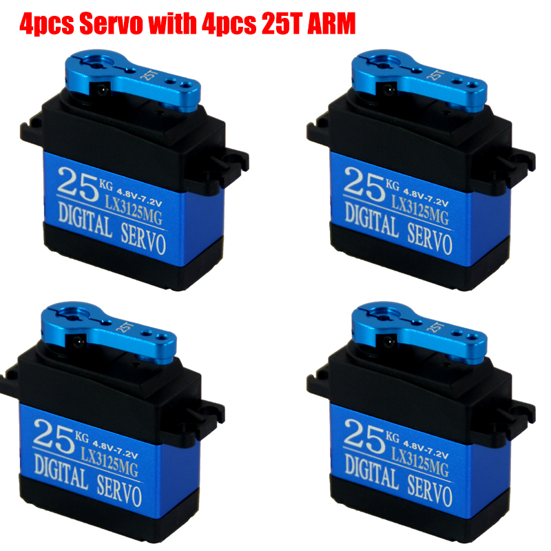 Free shipping 4PCS Metal Gear Rc Servo 25kg Waterproof Large torque HV 7.2V full metal gear digital servo For RC Car Traxxas