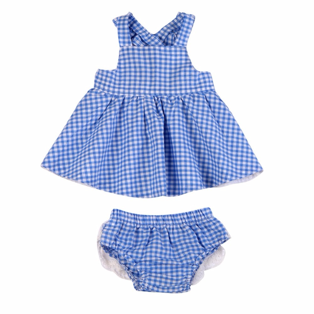 New 2017 Summer Infant Baby Girls Clothing Sets Plaid Mini Dress Tops+PP Shorts Bloomers Bottoms 2 Pcs Kids Outfits 2pcs ruffles newborn baby clothes 2017 summer princess girls floral dress tops baby bloomers shorts bottom outfits sunsuit 0 24m