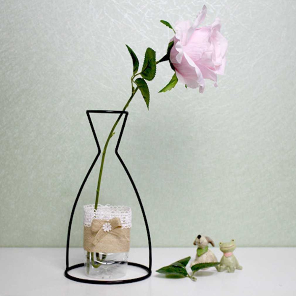4 Shapes Black Iron Shelving Glass Vase Flower Ornaments Plant Flower Iron Vase Simple Diverse Vases Elegant Home Decor