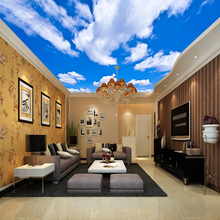 3D Blue Sky And White Clouds Ceiling Wallpaper