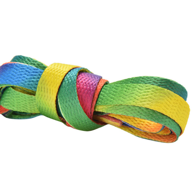 1 pair 110cm Multi-Colors Rainbow Flat Sports Shoe Laces Shoelaces Strings Strap for Sneakers Unisex rainbow shoelace 3