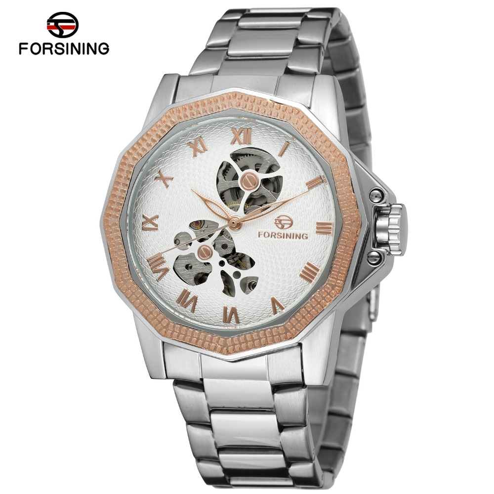 FORSINING Men Luxury Brand Self Wind Skeleton Stainless Steel Watch Automatic Mechanical Wristwatches Gift Box Relogio Releges resstaurant wireless waiter service table call button pager system with ce passed 1 display 1 watch 8 call button