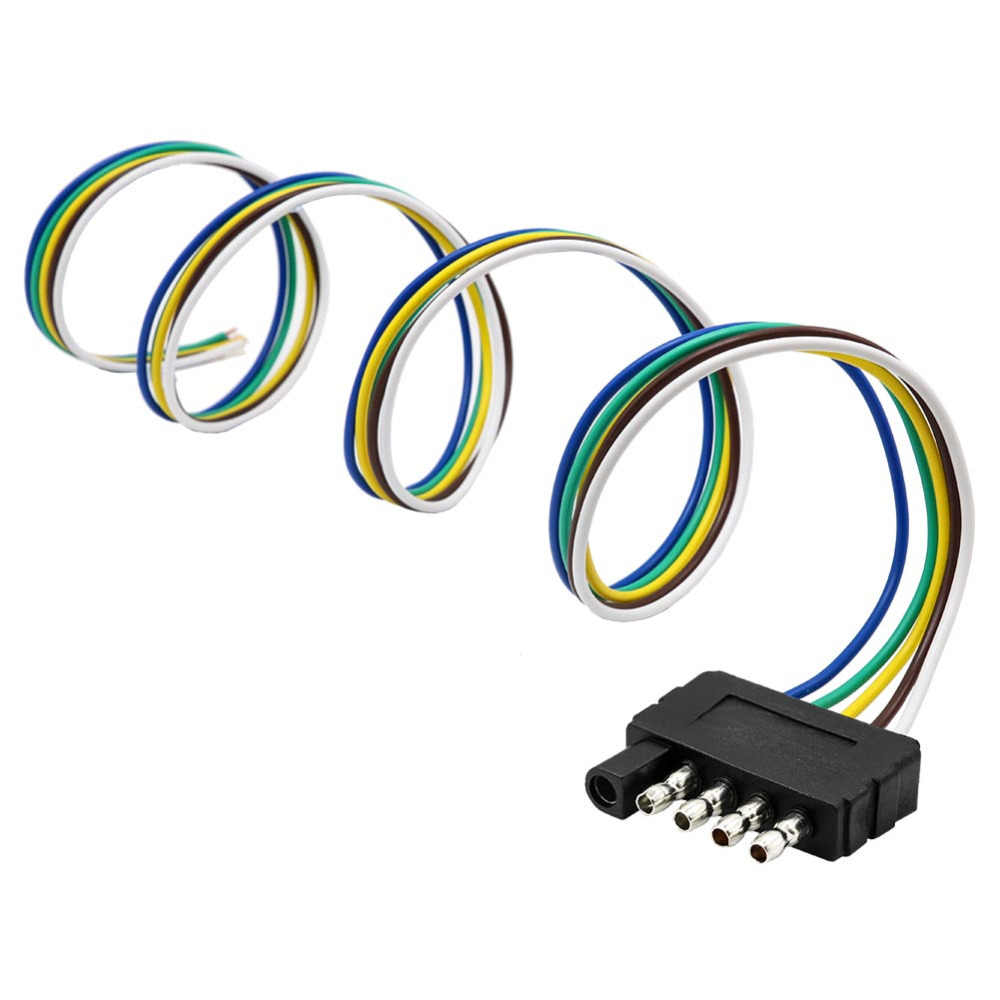 tirol 5 way flat trailer wire harness extension connector plug with 36 inchcable length end  [ 1000 x 1000 Pixel ]