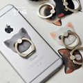 Finger Ring Lovely Cat Kitty Phone Stand Holder 360 Degree Metal Ring For iPhone 7 Samsung Finger Grip Ring with Gift Box