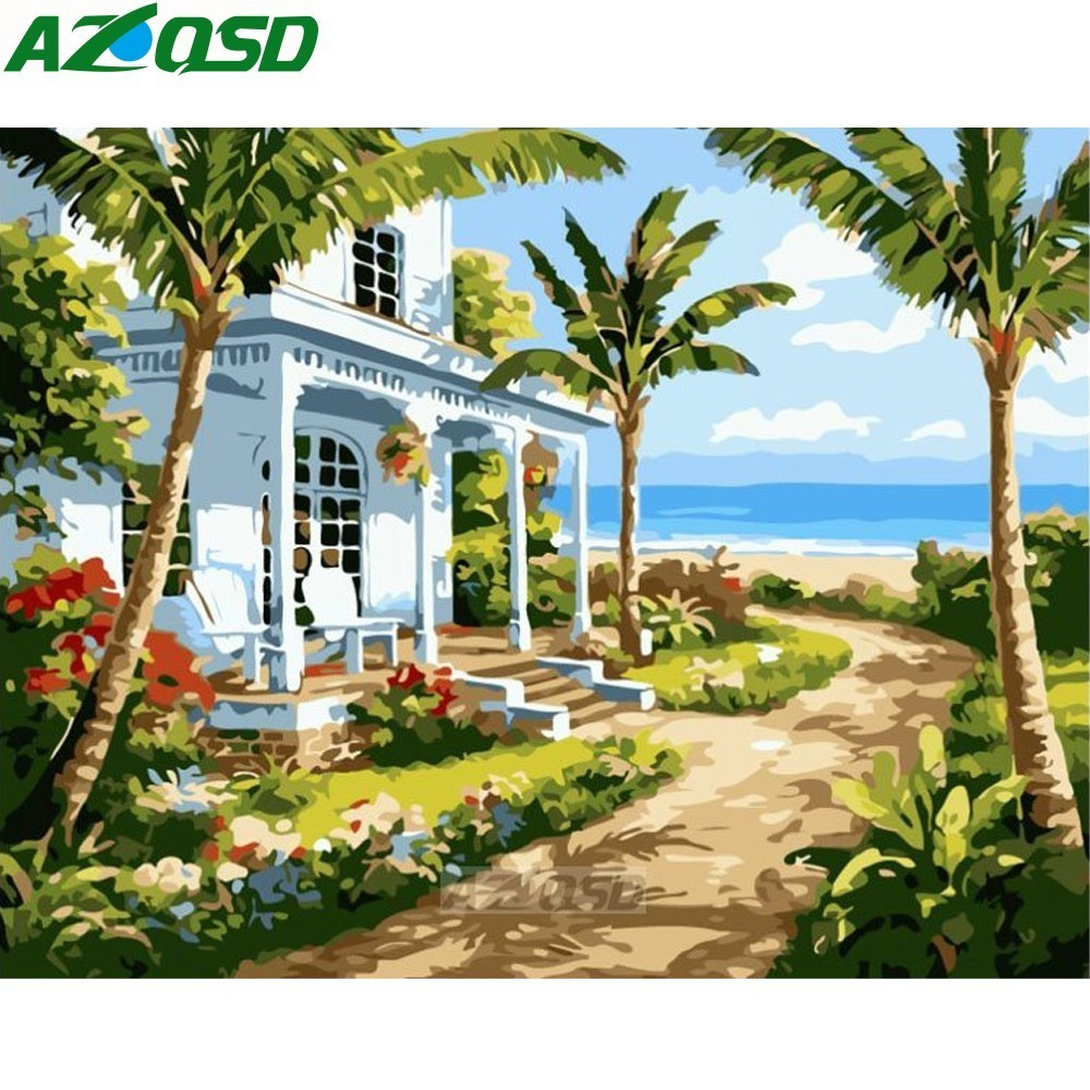 AZQSD Painting By Numbers 40x50cm Frameless Seaside Villa Oil Painting Picture By Numbers On Canvas Home Decor Szyh411