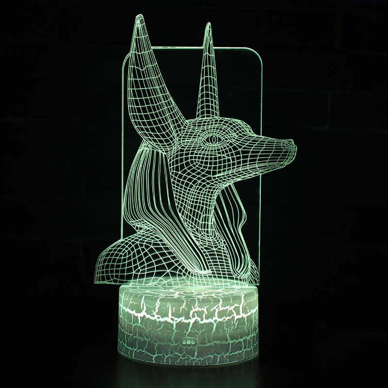 Anubis chủ đề 3D Đèn LED ánh sáng ban đêm 7 Màu Sắc Thay Đổi Cảm Ứng Tâm Trạng Đèn Giáng Sinh hiện tại Dropshippping