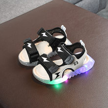 led luminous kids sandals girls boys running casual flat baby children beach sandals first walkers baby lighted summer(China)