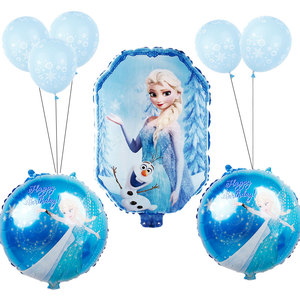 9pcs/set Baby shower girl foil balloons Disney Frozen princess elsa balloon birthday party decorations kids toys globos(China)