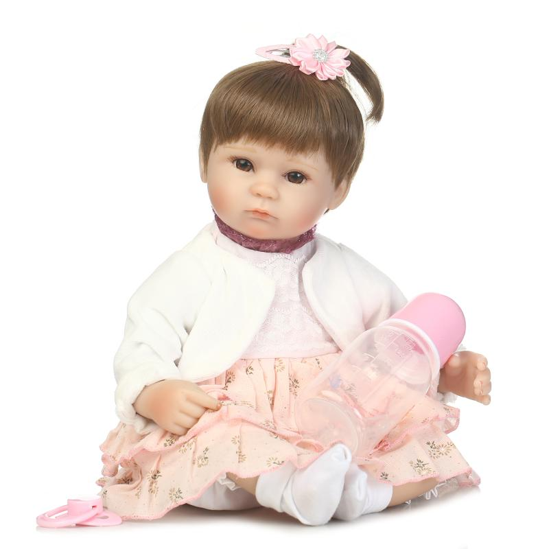 Lifelike Princess Girl Reborn Doll 17 Inch Realistic Silicone Real Touch Newborn Babies Toy With Clothes Kids Birthday Xmas Gift can sit and lie 22 inch reborn baby doll realistic lifelike silicone newborn babies with pink dress kids birthday christmas gift