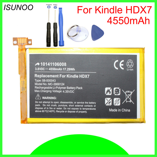 US $13 99 | ISUNOO 4550mAh 58 000043 Battery Replacement for Amazon Kindle  Fire HDX 7' C9R6QMS12 T1 S S12 T1 With Repair Tools -in Mobile Phone