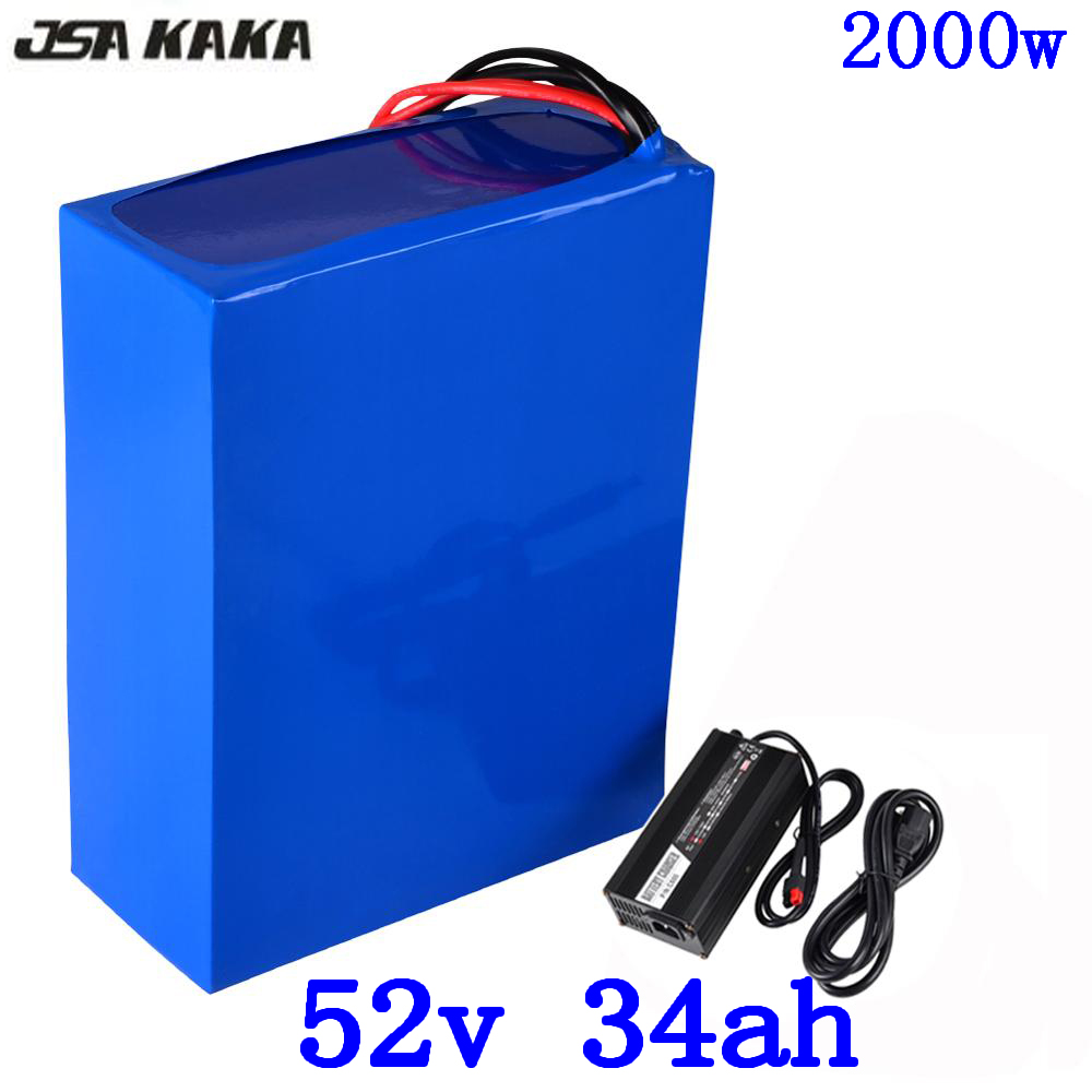 52V lithium battery 52v 35ah electric bike battery 51.8V 34AH lithium ion battery use LG cell with 50A BMS and 58.8V 5A charger