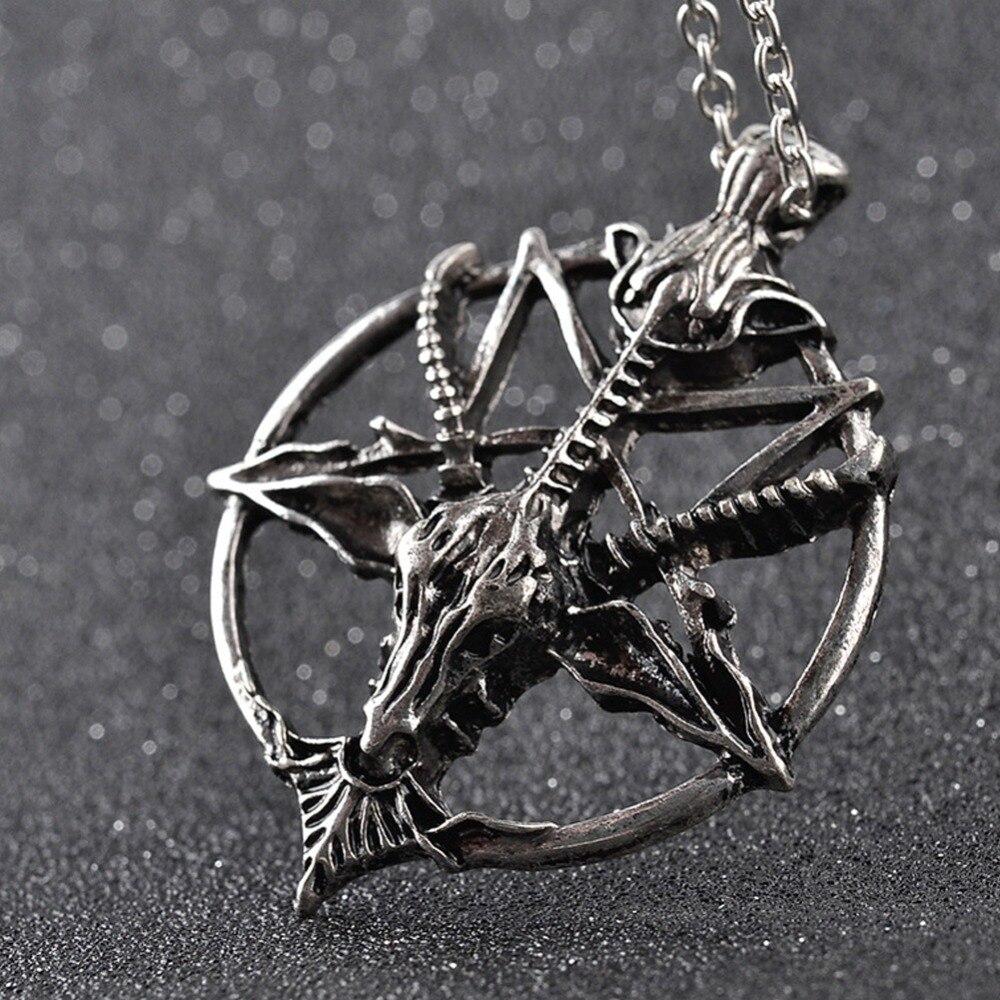 Модное ожерелье в стиле ретро с подвеской в виде пентаграммы, пандуры, Бога, черепа, козы, головы, удачи, сатанизма, оккультная металлическая ...