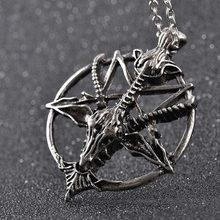 Moda retro pentagrama pan deus crânio cabeça de cabra pingente colar sorte satanismo ocultismo metal banhado a prata do vintage estrela colar