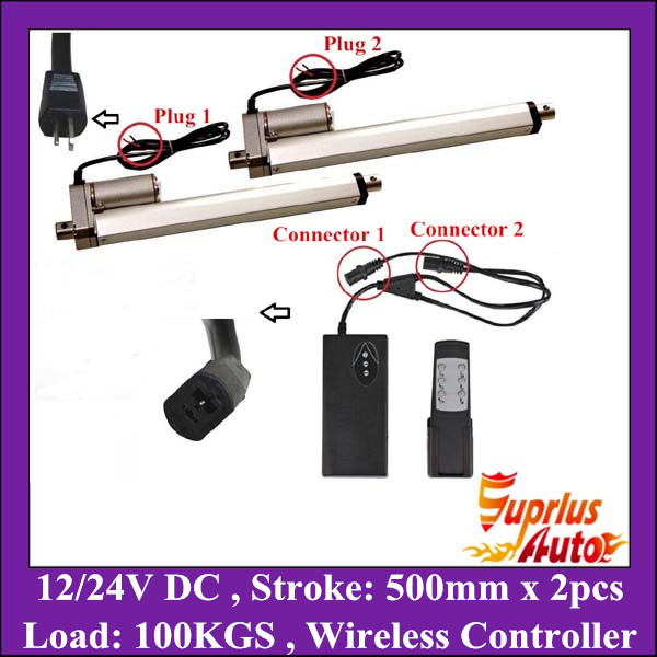 Two units 12v linear actuator 24v 20inch/ 500mm stroke max load 1000N/ 225LBS with unit wireless controllerTwo units 12v linear actuator 24v 20inch/ 500mm stroke max load 1000N/ 225LBS with unit wireless controller