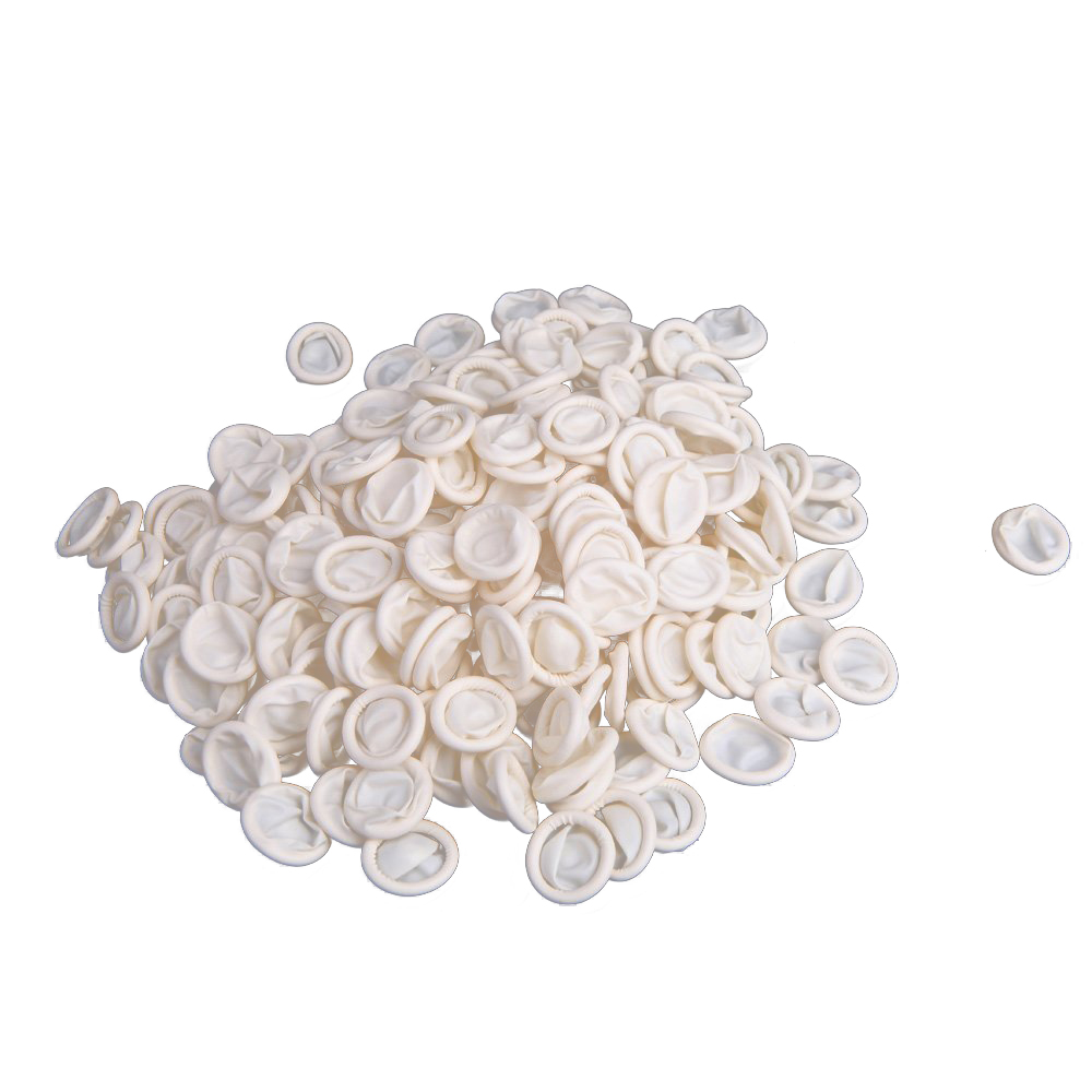 MOOL 300Pcs Nail Art Latex Rubber Finger Cots Protector Gloves White 500 grams about 750pcs milky latex rubber powder free working protective finger sets anti cutting cleanroom esd work gloves