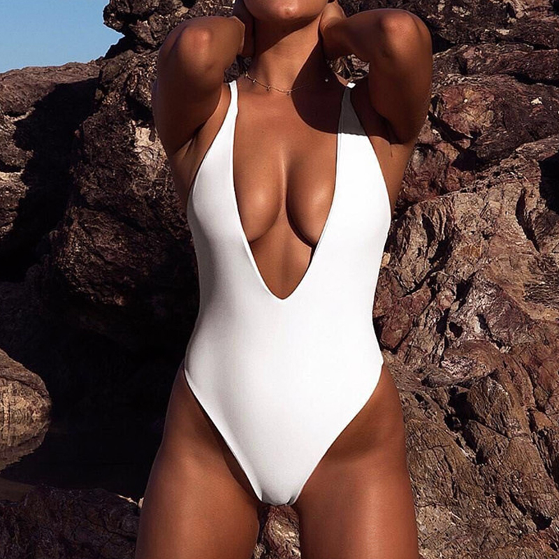 7ac78a7dc2d sexy backless deep V swimwear women one piece swimsuit 2019 new white  yellow bikini swimming bathing
