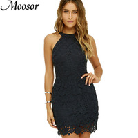 2017 Hot Sale O Neck Lace Patchwork Sexy Party Dresses Vestidos Fashion Pencil Dress Women Vestido