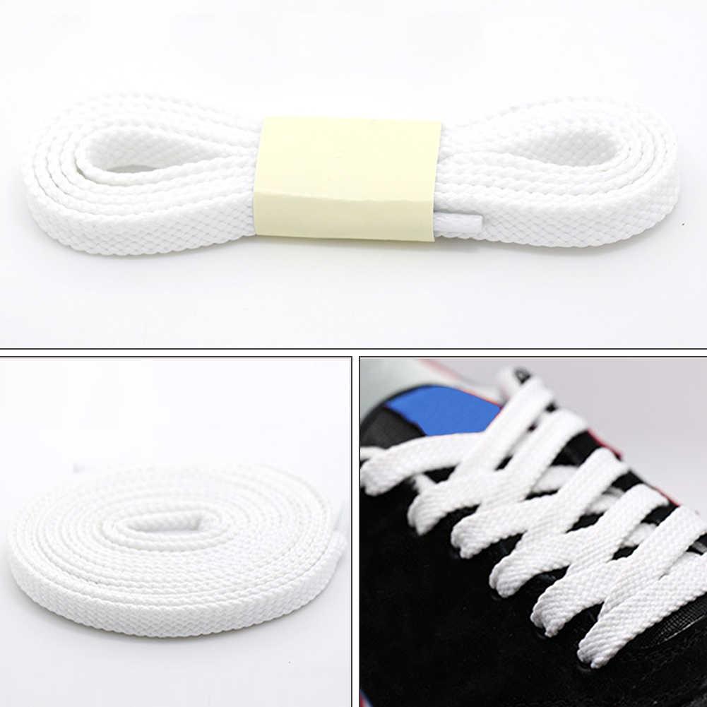 Новинка, 1 пара, 100 см, полиэстер, толстые плоские шнурки, широкая Спортивная повседневная обувь, кружево для кроссовок, черный, белый цвет