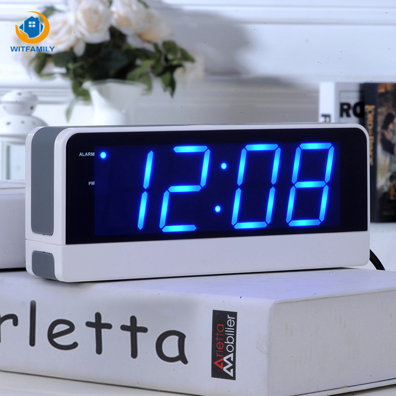 Big Screen LED Digital Electronic Alarm Clock Student Children Snooze Old Man Seat Bell Mute Luminous Bedside Clock