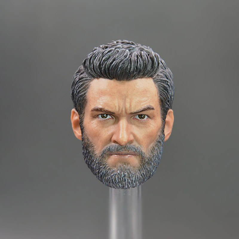 1/6 Scale X Men Origins: Wolverine Hugh Jackman Bearded Middle Age Version Head Sculpt Headplay for 12 Action Figure Body