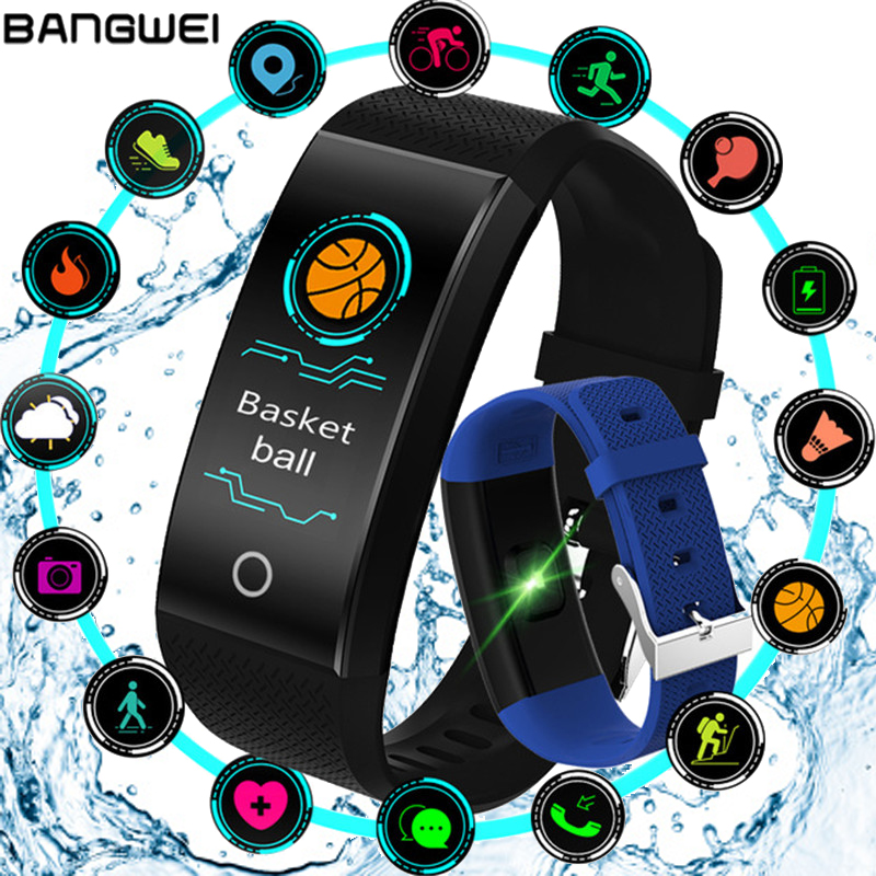 BANGWEI 2019 Smart Watch Women Sleep Monitor LED Color Information Reminder Pedometer IP68 Waterproof Smart Sport Watch men +BoxBANGWEI 2019 Smart Watch Women Sleep Monitor LED Color Information Reminder Pedometer IP68 Waterproof Smart Sport Watch men +Box