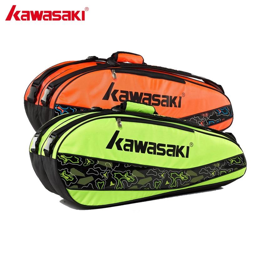 Kawasaki Brand Sports Bags Badminton Racket Bag For 3-6 Pieces Racquet Backpack Tennis Bag Green Orange KBB-8677