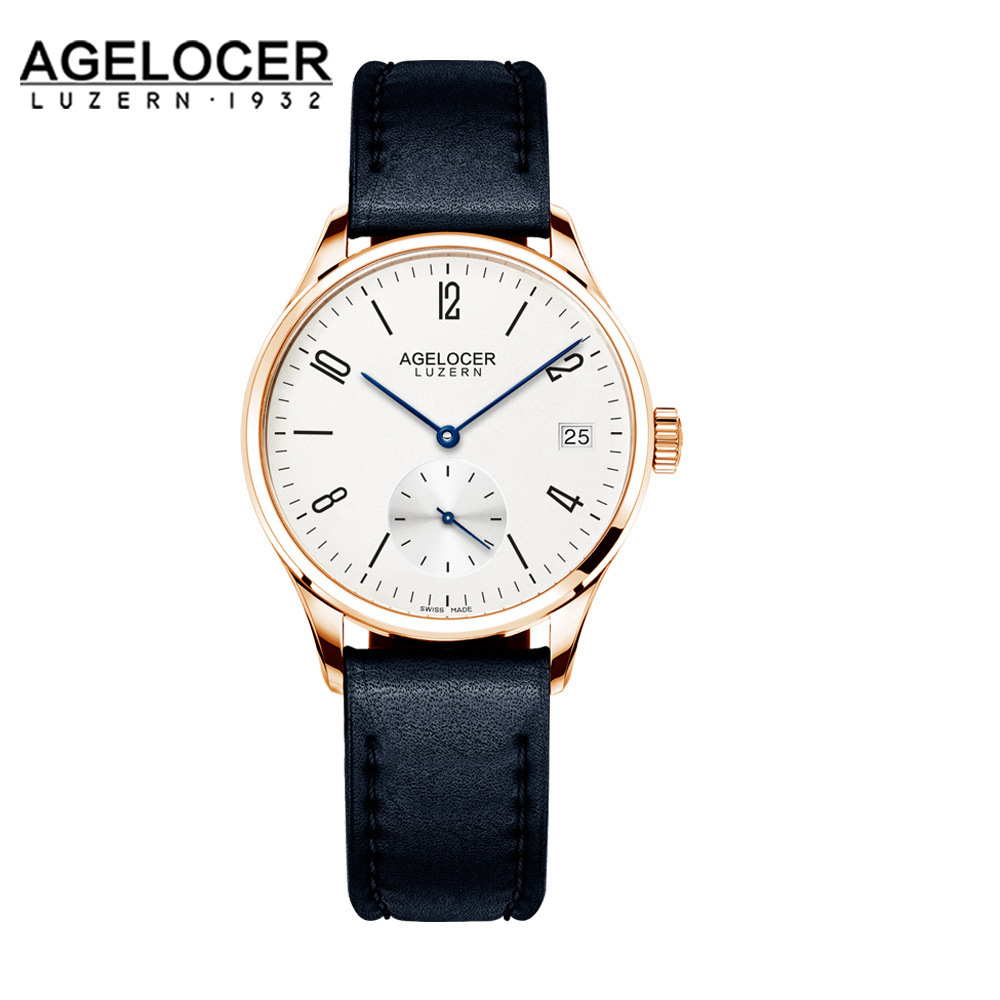 AGELOCER Women Original Swiss Automatic Watch Dress Ladies Business Fashion Black Genuine Leather Watches Clock Relojes Mujer ladies watches fashion red simple design black water resistant life quartz watch dress leather clock women casual relojes mujer