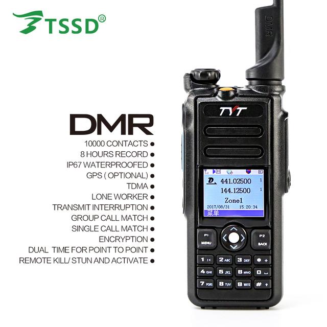 Original 5W TYT GPS IP 67 Waterproof Dual Band 144/430 Digital DMR Two Way Radio MD 2017