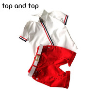 2015 Fashion Kids NEW Boys Clothes Suit T Shirt Short Pants 2pcs Baby Colthing Red Green
