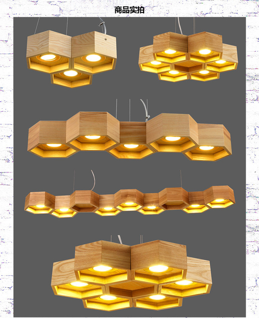OaK Wooden Honeycomb Modern Creative Handmade Wood LED Hanging ...