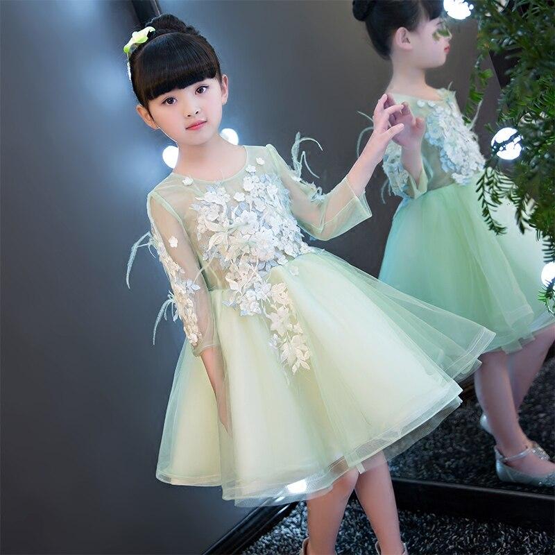 2017 New European Fashion Embroidery Flower Girls Dress Wedding Pageant Summer Children Princess Birthday Party Lace Dresses new children girls fashion birthday