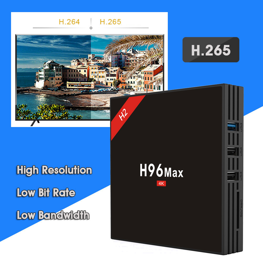 H96 MAX - H2 TV Box RK3328 Android 7.1 4GB RAM 32GB ROM 2.4G+5G Wi-Fi 100Mbps USB 3.0 BT 4.0 4K Smart Media Player jesurun a18 android 4 2 2 dual core google tv player w 1gb ram 4gb rom hdmi wi fi black