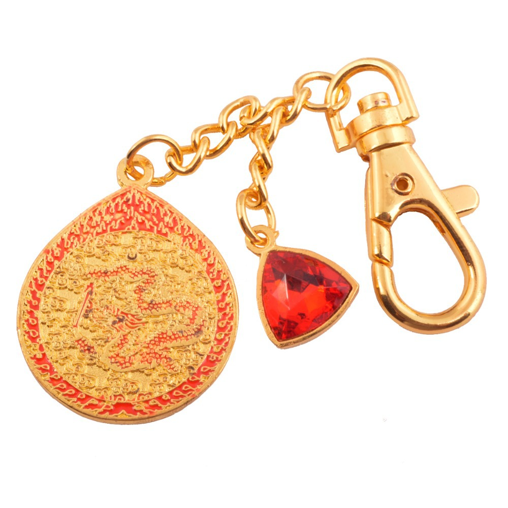 Feng shui Red Dragon Amulet With Red Jewel+Gift Box 2015 key chain Talisman W1037
