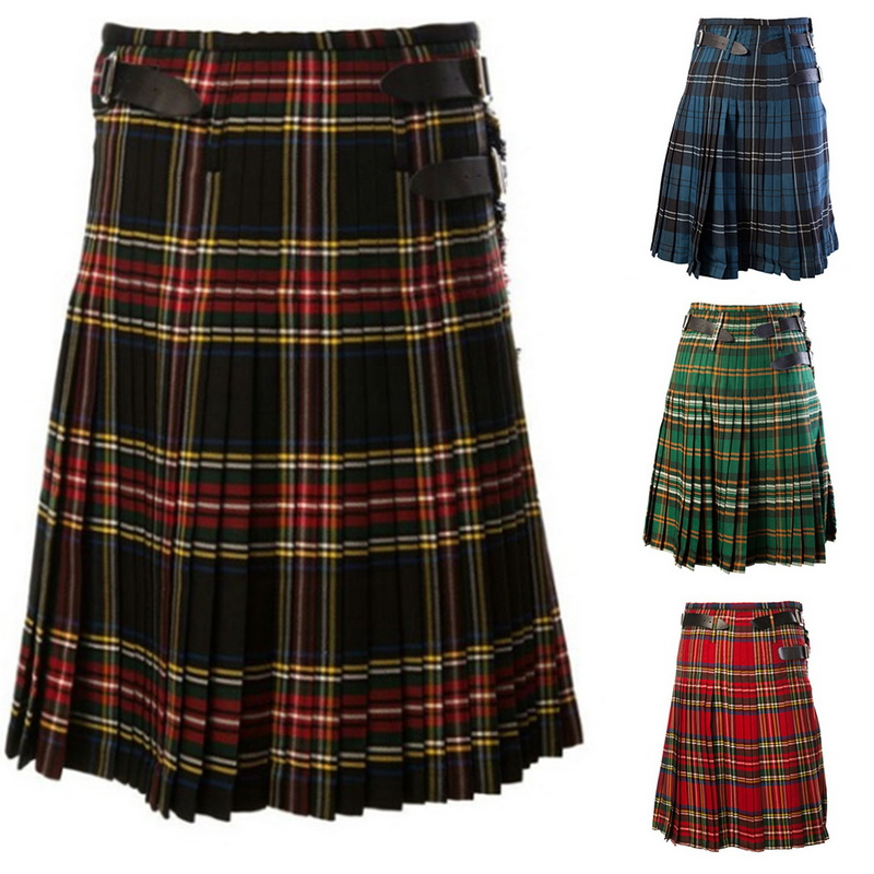 Pants Cargo Trousers Kilts Half-Skirts Pleated Scottish Plaids-Pattern Mens Casual Loose