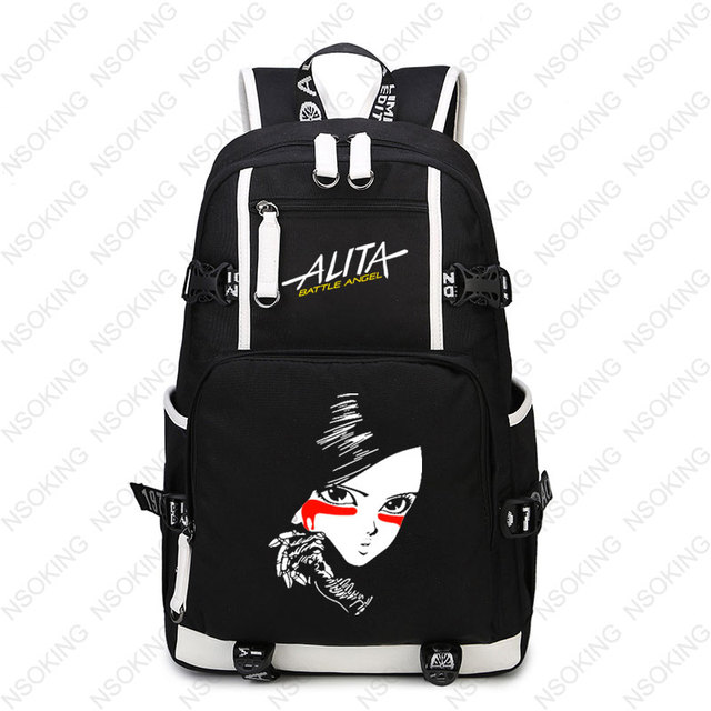 29bc387212d9 US $34.86 17% OFF|Film Alita Battle Angel Backpack Student School travel  bag New laptop bags Boy girl Unisex Oxford blue Backpacks-in Backpacks from  ...