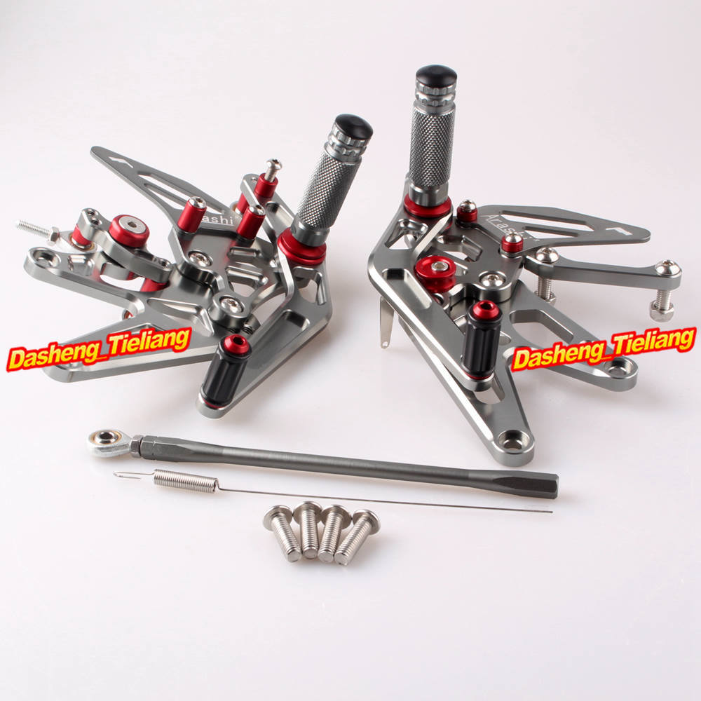 For Yamaha YZF R1 Rearset Footrest Foot Pegs 2004 2005 2006 04 05 06 CNC Aluminum Alloy Adjustable Grey