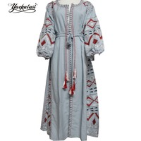 Women Dress Long Bohemian Embroidered Vestido Loose Cotton Vintage Dress Linen Dress Lantern