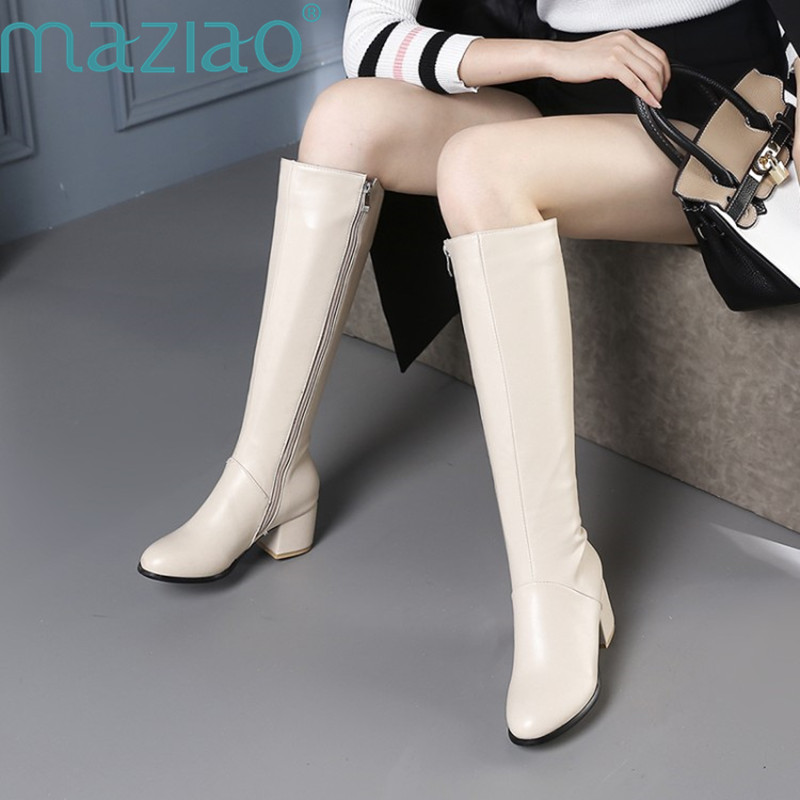 Winter Warm Fur Knee High Boots Womens Snow Boots leather High Heels Side Zipper Female Shoes Black Beige Large Size MAZIAO