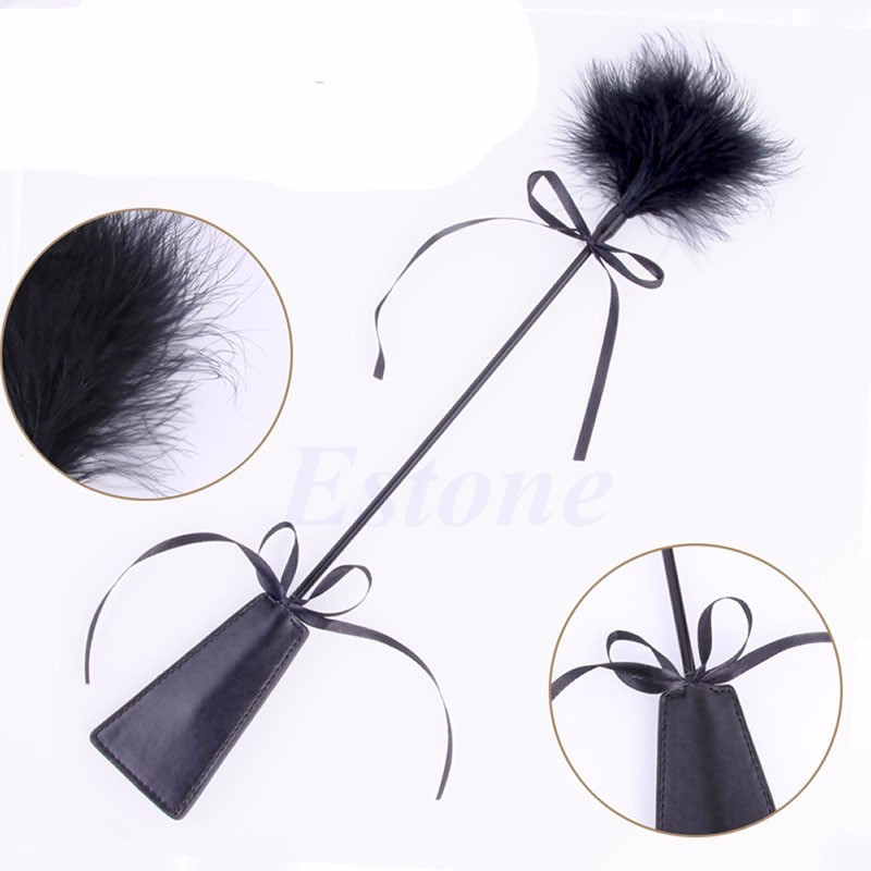 SM <font><b>Sex</b></font> Toy lovely Bow-knot PU Leather & Feather Whip <font><b>Sex</b></font> <font><b>Tool</b></font> Restraint Fetish <font><b>Adult</b></font> Couple Game <font><b>Product</b></font> Erotic Toys image