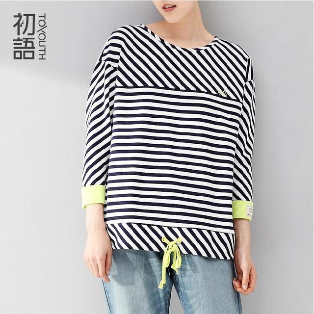 d5d035fb604 Toyouth базовая футболка женщины хлопок полосатый рисунок три четверти  рукав o-шея широкий свободного покроя