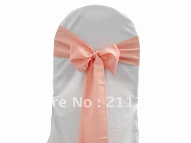 "Free Shipping 20*280cm (7.8"")coral pink Simple Elegant Satin Wedding Theme  Party Chair  Sash Chair Bow More Colors Available"