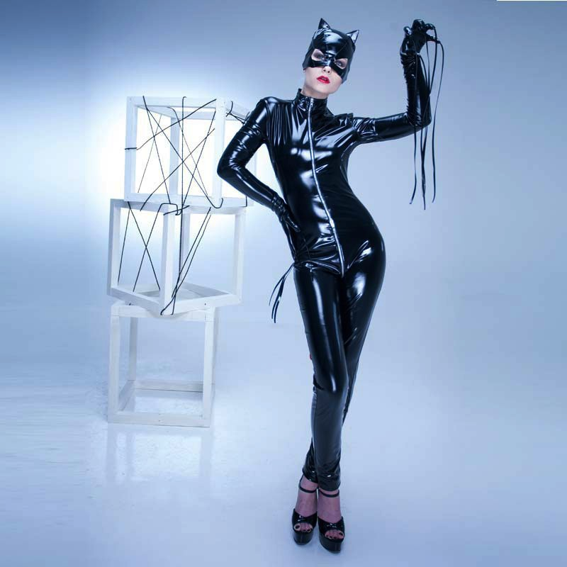 Grande taille S-XXL PVC Latex adulte femmes PU cuir Catsuit Sexy Catwoman Costume chat masque Latex body extensible entrejambe ouvert - 4