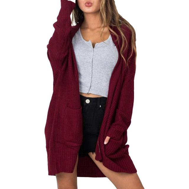 337c3f1e7a32f Women Baggy Solid Color Pockets Cardigan Casual Autumn Knitted Oversized  Coat Knitwear Ladies Chunky Oversized Sweater
