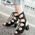 2017 New summer women boots sexy Peep Toe thick heel high heel shoes big size 33-43 Lace-Up Gladiator sandals zapatos mujer